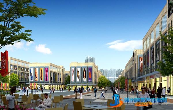 商业区中心广场透视图